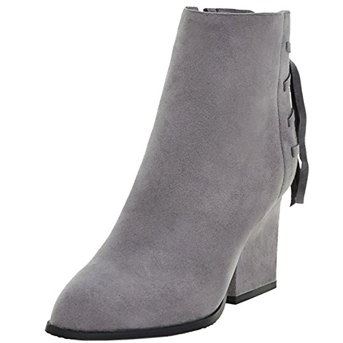 with Grey High Vintage Women Strap Boots KemeKiss Zipper Heel Block Back Zg0nxBqp
