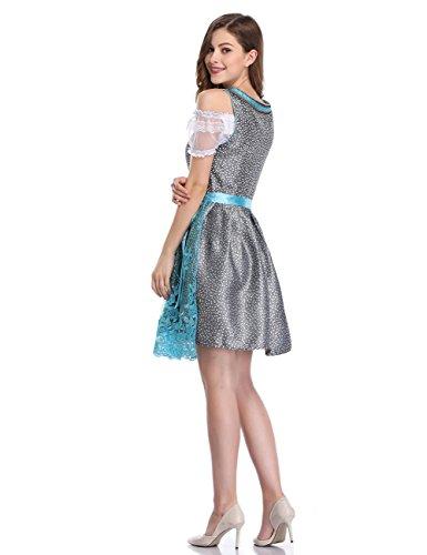 Dirndl Oktoberfest per Etbotu Donna Bavarese Ghiaccio Costume 2XL formato Blu lunga Abito S da vestito Gonna Dirndl vfnP8vF