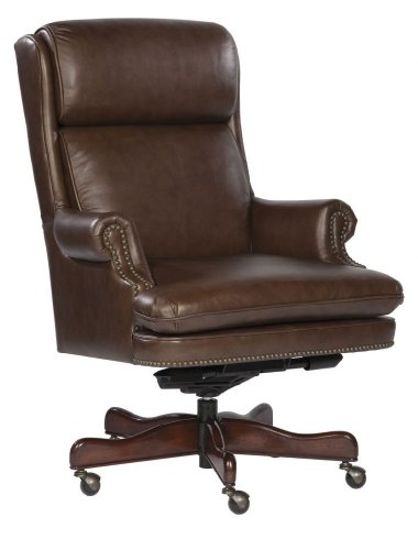 Chair Furniture Executive Hekman - Leather Executive Office Chair with Brass Nailhead Trim Color: Coffee