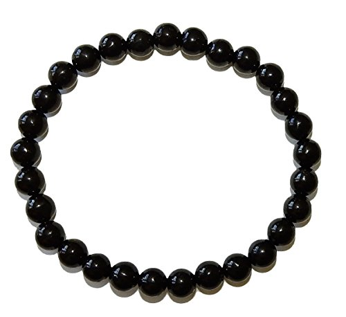 SunnyCrystals 8mm Black Tourmaline Bracelet Grade A Natural Gemstone Handcrafted Jewelry BTB8MM01