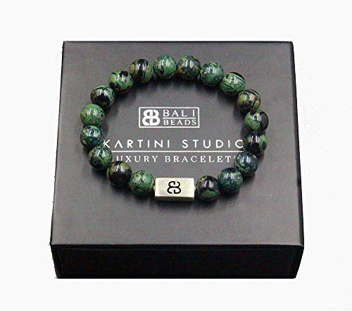 (Men's Jade Bracelet, Dark Green Jade and Sterling Silver Bracelet, Jade Bracelet)