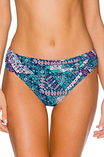 (Sunsets Women's Unforgettable Shirred Band Bikini Bottom Swimsuit, Grand Bazaar, Medium)