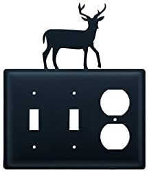 Village Wrought Iron Esso-3 Deer - Double Switch & Single Outlet Cover
