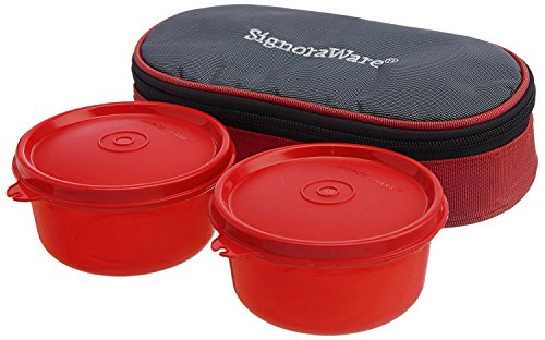 Signoraware Mid-Day Lunch Box with Bag, Deep Red