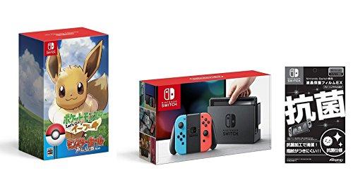 (닌텐도 스위치 포켓몬스터) Nintendo Switch 본체 (닌텐도 스위치) 【Joy-Con (L) 네온 블루/(R) 네온 레드】&액정 보호 필름EX부착(닌텐도 라이센스 상품) + 포켓 몬스터 Let's Go! 이브이 몬스터 볼 Plus세트- Switch