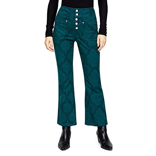 We The Free Womens Liv Flare Leg Pattern Cropped Pants Green 26
