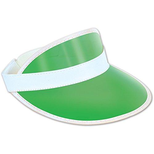 Clear Green Plastic Dealer's Visor Party Accessory (1 count) (Visor Plastic)