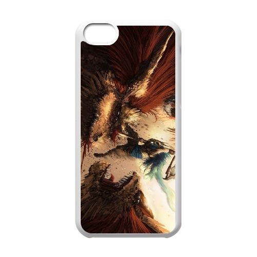 X8M23 monstres se battent N6C7TG coque iPhone 5c cellule de cas de téléphone couvercle coque blanche XD5BRO8DY