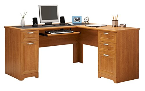 Honey Maple Tower - Realspace Magellan Collection L-Shaped Desk, Honey Maple