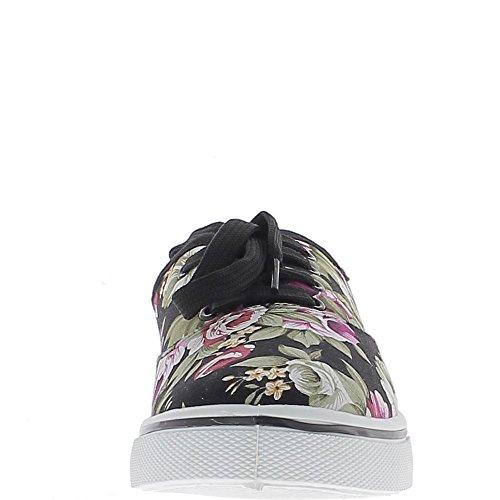 Baskets ville femme noires motifs fleurs