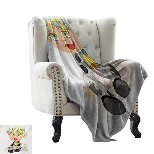 Ultra Soft Flannel Blanket Zodiac Taurus,Happy Baby with Little Horns and Flowers Cow Bell and Costume Kids Cartoon,Multicolor Cozy Blanket for Couch Sofa Bed Beach Travel 50