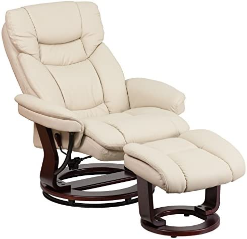 home, kitchen, furniture, living room furniture,  chairs 4 on sale Flash Furniture Recliner Chair with Ottoman | Beige LeatherSoft deals