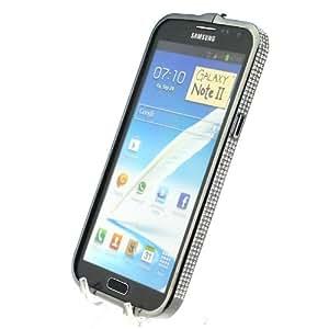 Diamond Crystal Bling Aluminum Metal Bumper Hard Black Case Cover for Samsung Galaxy Note 2 N7100 Match flower Hanger