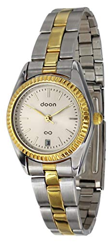 Doon Arpa Women's Watch with Champagne Dial, Two Tone Strap in Alloy, Quartz Movement - D2129-002