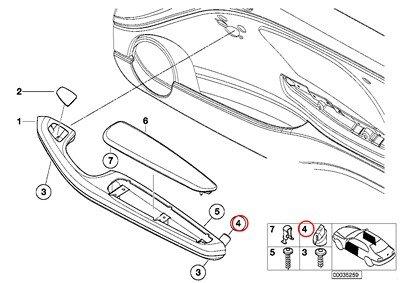 Panel Door Rear Convertible (6 X BMW Genuine Front Armrest Front Door Closing System Rear Door Closing System Nut 318ti 323Ci 325Ci 328Ci 330Ci M3 X5 3.0si X5 3.5d X5 4.8i X5 M X5 35dX X5 35iX X5 50iX X6 35iX X6 50iX X6 M Hybrid X6 X5 35dX X5 35i X5 35iX X5 50iX)