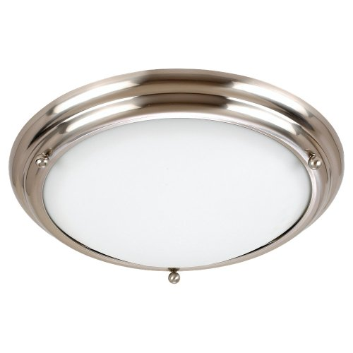 Satin Brushed White Glass Stainless - Sea Gull Lighting 77033-98 3-Light Centra Close-to-Ceiling Fixture, Satin White Glass and Brushed Stainless
