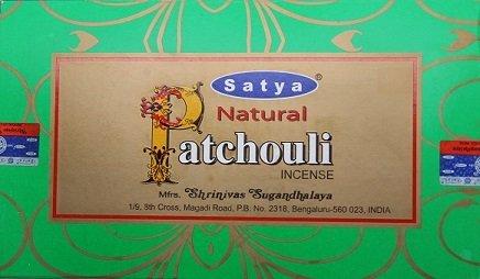 Natural Patchouli Incense Sticks - By Satya Nag Champa - Pack of 15 G X 12 Boxes - 180 G Total - Satya Natural Incense