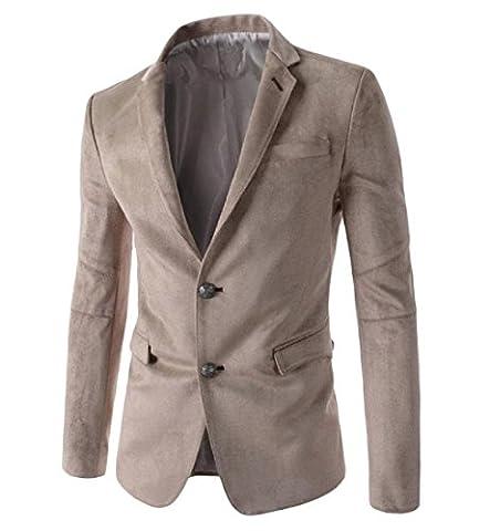 Coolred Men Stylish Solid Colored Faux?Suede Suit Jacket Blazer Coat Khaki XL - Faux Suede Blazer