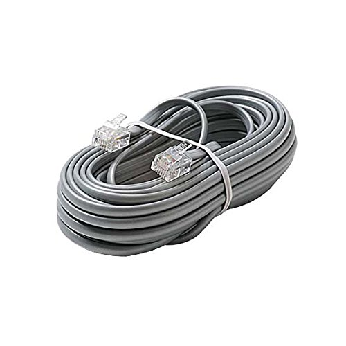 (7' FT Telephone Line Cord Cable 6 Conductor 6P6C Wire Silver Satin Flat Ultra Flexible Modular Line Plug Connectors Each End 6P6C RJ12 Phone Connect RJ-12 Communication Wire Extension Cable)