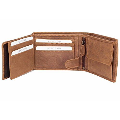 DiLoro Men's Leather Bifold Double Flip ID Zip Coin Wallet with RFID Protection in Vegetable Tanned Light Hunter Brown 1808-BR