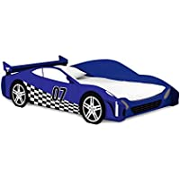 Legaré Furniture Race Car Twin Bed Frame, Kids Bed Furniture, Blue and White, No Tools Required