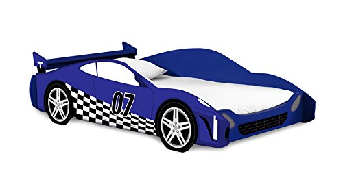 Legaré Furniture Children's Race Car Standard Bed Frame for Kids, Blue and White, Twin Size
