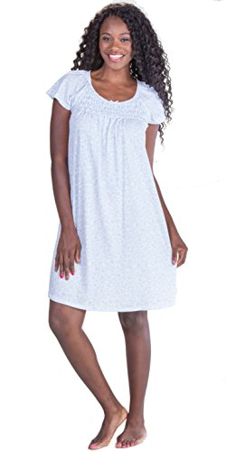 Flutter Vines - Miss Elaine Plus Gown - Short Flutter Sleeve in Sky Vines (2X, White/Blue)