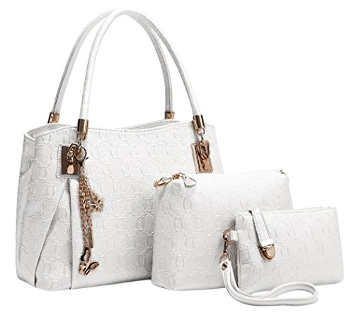 Coofit Frauen Leder Handtaschen Set 3 teiliges Damen Handtaschenset Vintage Style Leder Crossbody Tasche Handgelenktasche