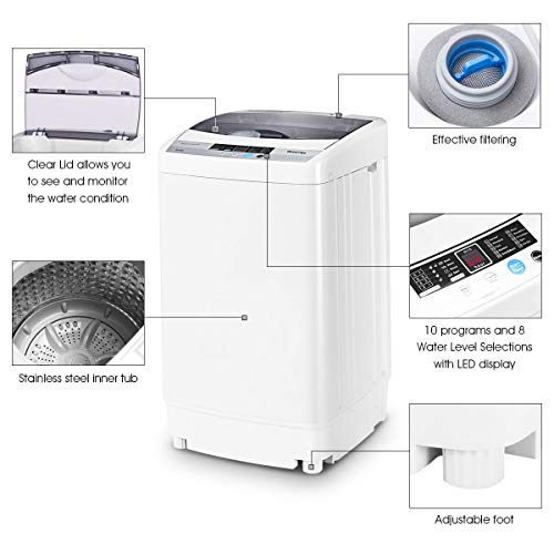 giantex portable compact full automatic washing machine 1 6 laundry washer spin with drain. Black Bedroom Furniture Sets. Home Design Ideas