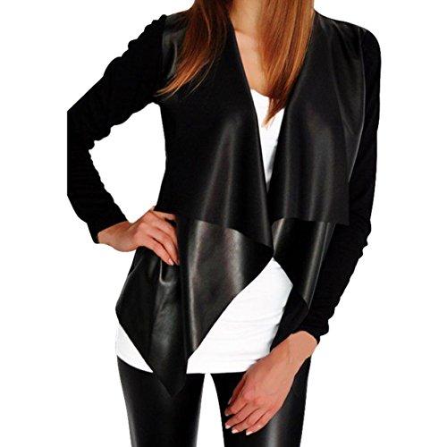Qisc Women's PU Faux Leather Jacket Cardigan Patchwork knitted Sleeve Long Sleeve Jacket Coat (XL, Black)