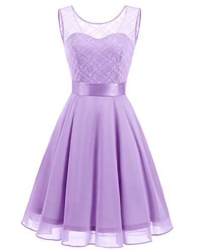 BeryLove Women's Short Floral Lace Bridesmaid Dress A-line Swing Party Dress BLP7005-6Lavender6-Small