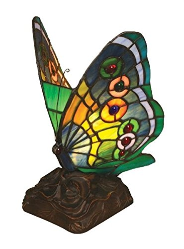 Tiffany Style Stained Glass Light Butterfly Accent Lamp Patina Patina 30 Trees