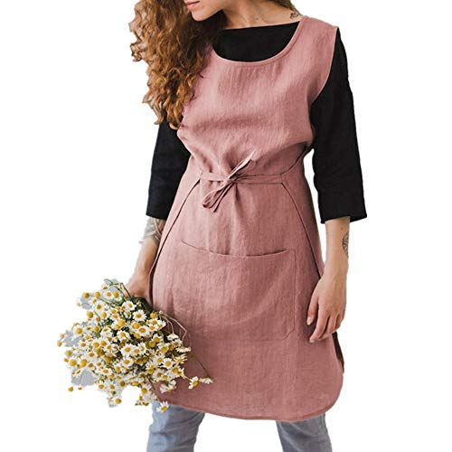 Womens Sleeveless Cotton Linen Pinafore Home Cooking Bib Apron Lace-Up Pocket Dress (XL, Pink)
