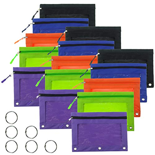 sticro 15 Pieces 3 Ring Pencil Pouch, 5 Colors Binder Canvas Pencil Case with Zipper Pulls (15 Pack)