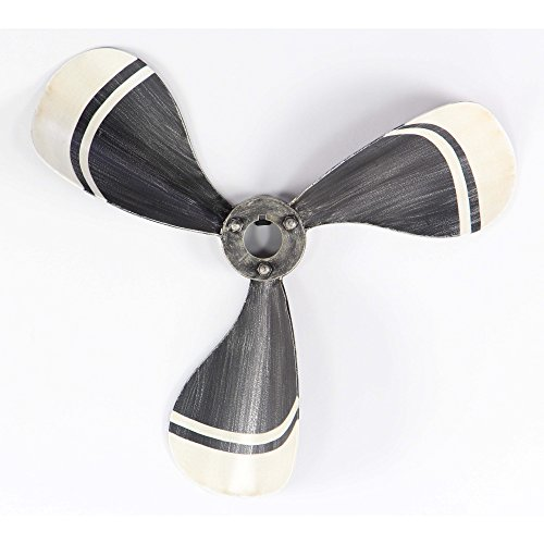 Benzara Metal Wall Sculptures Bm119404 Benzara Nautical 3-Blade Metal Propeller Wall Decor 21 X 21 X 3 Inches White