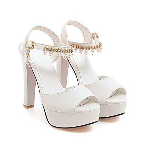 Moda Mujer verano sandalias confortables tacones altos,34 en polvo de tacón alto 9cm. white-12 cm high heels