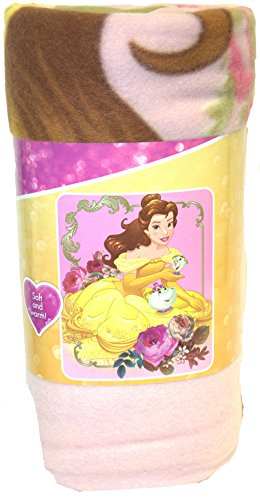 S.L. Home Fashions Disney Princess Belle Botanical Character Fleece Blanket, 50 x 60-inches]()
