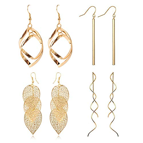 FAUOI Metal Geometric Style Gold Plated Earrings Bar Dangle Leaves Tassel Threader Drop Wave Earrings Set for Women (4PC) (Dangle Earrings)