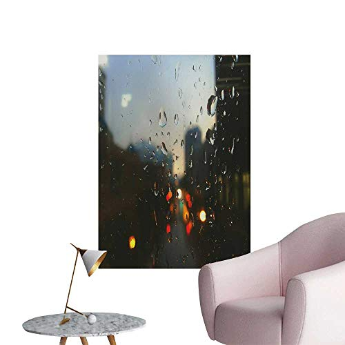 - SeptSonne Wall Decoration Wall Stickers Raindrops on The Glass Print Artwork,12
