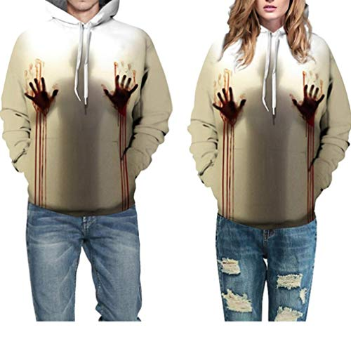 Halloween Costume Women Men Scary Skeleton Blood 3D Print Hoodie Sweatshirt Top(A,L/XL)