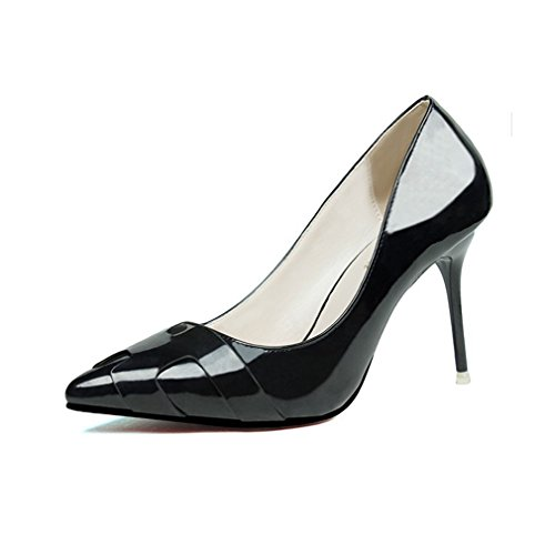 CYBLING Sexy Pointed Toe Stiletto Heels Dress Pumps for Women Patent Leather Party Shoes Black Vam2nPac