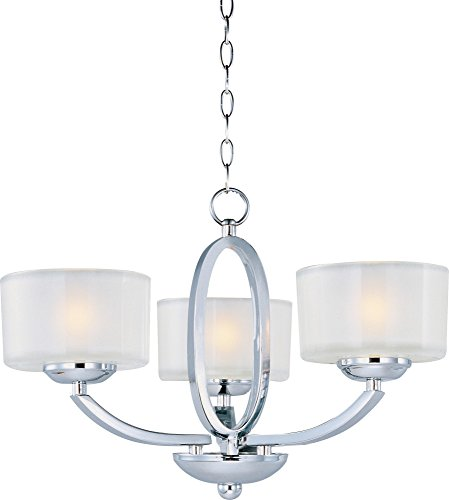 Maxim 19041FTPC Elle 3-Light Semi-Flush Mount/Chandelier Single-Tier Chandelier, Polished Chrome Finish, Frosted Glass, G9 Frost Xenon Xenon Bulb , 1W Max., Dry Safety Rating, 3500K Color Temp, Lutron CL or Leviton LED Dimmable, Glass Shade Material, 996 Rated Lumens 1 Tier Frosted Glass Chandelier