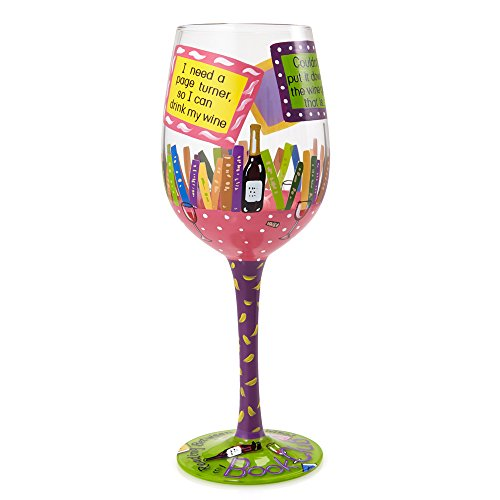 "- Designs by Lolita ""My Book Club"" Hand-painted Artisan Wine Glass, 15 oz."