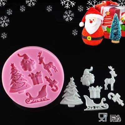 1 piece christmas tree deer santa claus fondant cake decorating tools silicone mold polymer clay resin - Christmas Cake Decorations Amazon