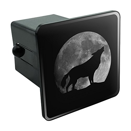 Plastic Hitch Plug - Wolf Howling Moon Silhouette Tow Trailer Hitch Cover Plug Insert 2