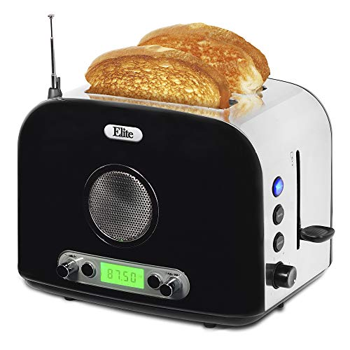Maxi-Matic ERT-6067 Long Cool Touch 4-Slice Toaster Extra Wide 1.25″ Slots for Bagels Waffles, 2, White