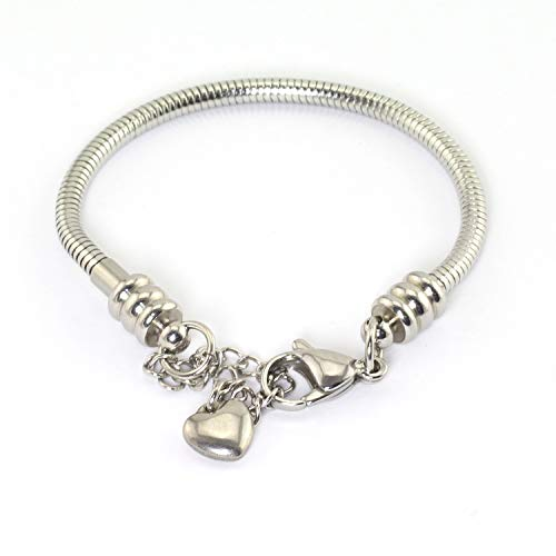 Tegg 1 Piece 7 Inch Snake Chain Starter with Lobster Clasp Stainless Steel DIY Crafts Making Jewelry Findings Accessories European Style Bracelet for Bead Charms