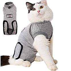 LEMON PET Cat Surgery Recovery Cotton Cosy Clothes Vest, Kittens Puppy Costume Suit for Abdominal Wounds, Skin Diseases, Surgical Cats (S)