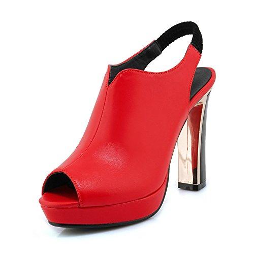 donna Bianco nozze festa UK6 microfibra US8 EU39 pompa della Sera CN39 Heel la ZHZNVX sandali Scarpe Rosso Primavera Estate Black di per base Stiletto Nero 45w4fqT