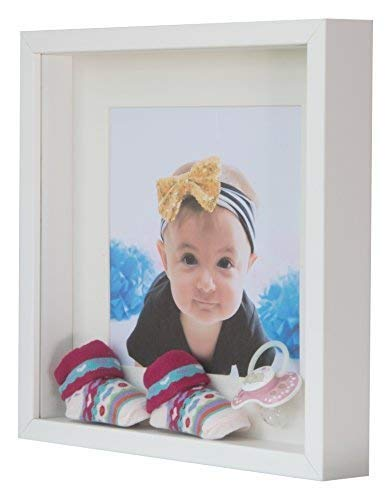 BD ART White Shadow Box 3D Square Picture Frame 9x9 (23 x 23 x 4.7 cm) with Mount 5x5 inch,Glass Front (European Glass Mount)